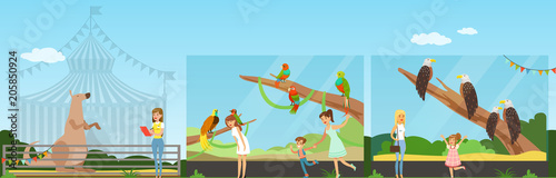Plexiglas Zoo People visiting zoo and watching animals at excursion horizontal vector Illustration in flat style