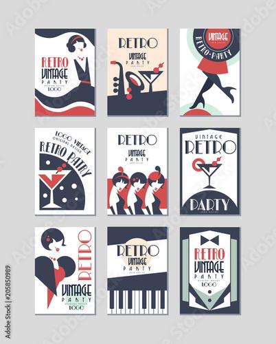 Fotobehang Vintage Poster Vintage party logo design, retro style poster vector Illustrations