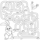 Help little bunny find path to carrot. Labyrinth. Maze game for kids. Black and white vector illustration for coloring book