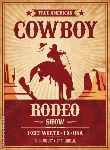 Plexiglas Vintage Poster Vector Rodeo Invite template