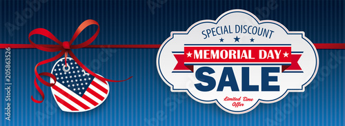 Red Ribbon USA Heart Label Memorial Day Sale Header