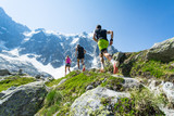Trail runners running up a steep trail in the Alps in summer - 205864103