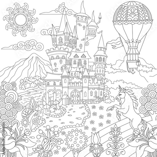 Fairy tale concept. Fairytale landscape with vintage castle, unicorn, flowers, hot air balloon. Coloring Page. Adult Coloring Book idea. Freehand sketch drawing picture.