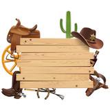 Vector Western Board with Cowboy Accessories - 205865992