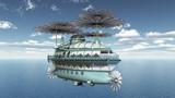 Fantasie Luftschiff über dem Meer - 205866398