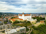 View on Bratislava castle and old town. Bratislava aerial cityscape view