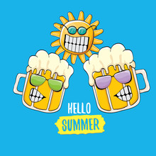 Cartoon Funky Beer Glass Character And Summer Sun  On Blue  Hello Summer Text And Funky Beer Concept Illustration Funny Cartoon Smiling Friends Sticker