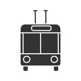 Trolleybus in front view glyph icon