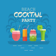 Beach Cocktail Party Invitation Card Or Poster  Smoothies And Cocktails On Palm Island  Summer Holiday Concept Beach Event Banner  Soft Fruit Drinks And Beverages Sticker