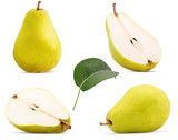 Set fresh pears whole, cut in half with leaf