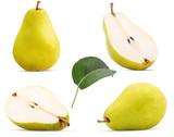 Set fresh pears whole, cut in half with leaf - 205870326