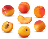 Big collection fresh ripe apricot, whole, slice, cut in half with bone