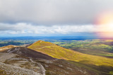 Beautiful scenic mountain landscape. View from Croagh Patrick - mountain in Co. Mayo, Westport, West coast of Ireland