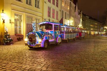Beautiful Tallinn town hall Christmas train, Tallinn, Estonia