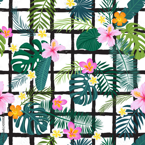 Seamless pattern with tropical palm leaves and flowers. Vector illustration.