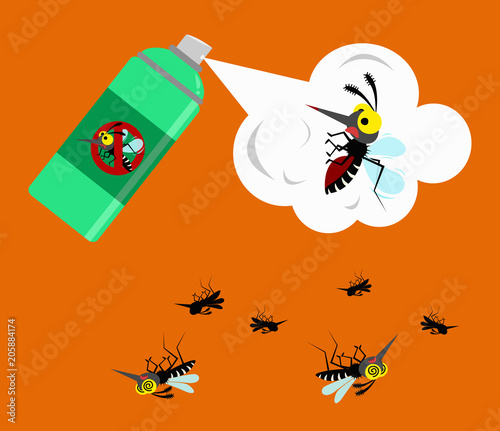 mosquito spray protection. vector illustration. - 205884174