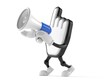 Cursor character speaking through a megaphone