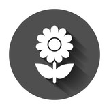 Chamomile flower vector icon in flat style. Daisy illustration with long shadow. Camomile sign concept.