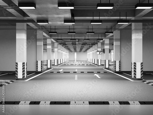 Empty modern underground parking 3d render