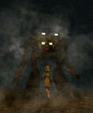 Girl looking to a giant robot in front of her,3d illustration,night scene - 205887505