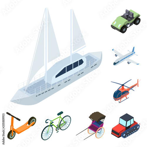 Sticker Different types of transport cartoon icons in set collection for design. Car and ship isometric vector symbol stock web illustration.