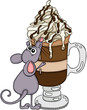 Cute mouse with a coffee cup cappuccino latte with cream