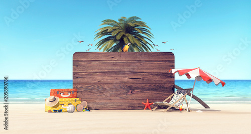 mata magnetyczna Summer time holiday background 3D Rendering