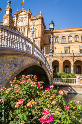 Poster Bridge and flowers on plaza de Espana spain square in Sevilla