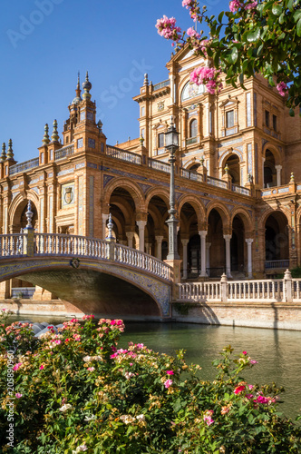 Sevilla spain square plaza de Espana, river and bridge