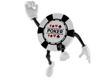 Gambling Chip Character Jumping In Joy Sticker