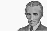 Portrait of Nikola Tesla, famous inventor, on banknote (former Yugoslavia, dinars)