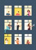 Neighbors cartoon people in apartment house windows. Neighborhood vector concept - 205896956