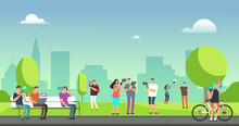 Young People Using Smartphones And Tablets Walking Outdoors In Park Mobile Internet Addiction  Concept Sticker