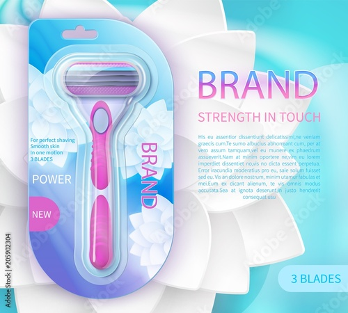Sharp blade razor product vector ad poster