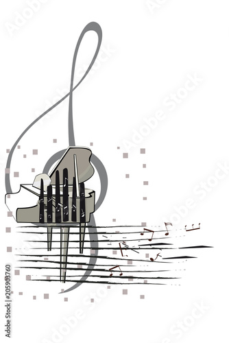 Fototapeta Abstract musical design with piano and a treble clef. Vector illustration.