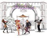 Series of the street cafes with people, men and women, in the old city, vector illustration. Romantic couple.