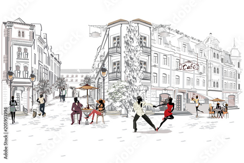 Series of the street cafes with people, men and women, in the old city, vector illustration. Salsa dancers.  - 205903994