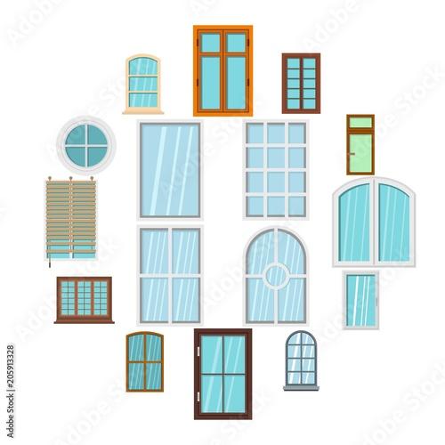 Plastikowe okno tworzy ikony ustawiać w mieszkanie stylu odizolowywał wektorową ilustrację