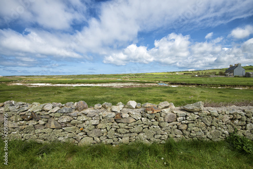 Fototapeta green meadows and stone walls in france under the clouds