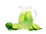 Jug of summer limeade with limes and mint isolated on a white background