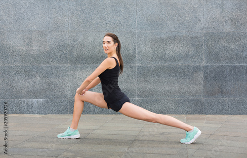 Sticker Fitness woman at stretching training outdoors