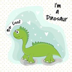 Cute cartoon green dinosaur on a blue background. © tartumedia