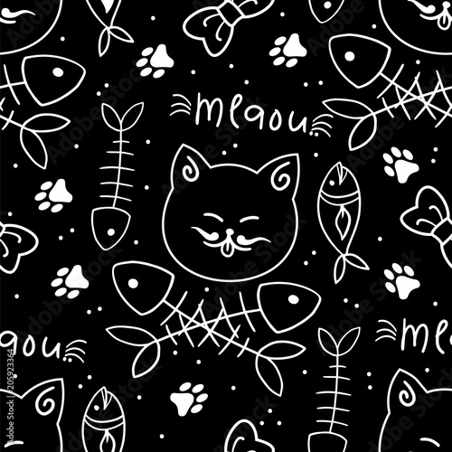 Materiał do szycia Seamless vector pattern with cute cats
