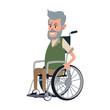 Old man in wheelchair cartoon vector illustration graphic design