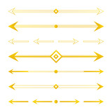 Set, collection of golden arrow borders, dividers, design elements isolated on white background. - 205924530