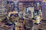 Aerial view of Manhattan skyscrapers by night - 205924533