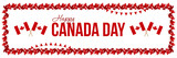 Happy Canada Day card, horizontal illustration or header with maple leaves borders and national canadian flags. - 205924561