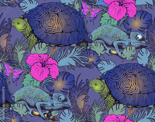 mata magnetyczna Seamless pattern of turtle, chameleon and flowers. Vector illustration