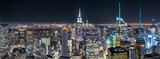 Aerial view over New York City by night - 205926339