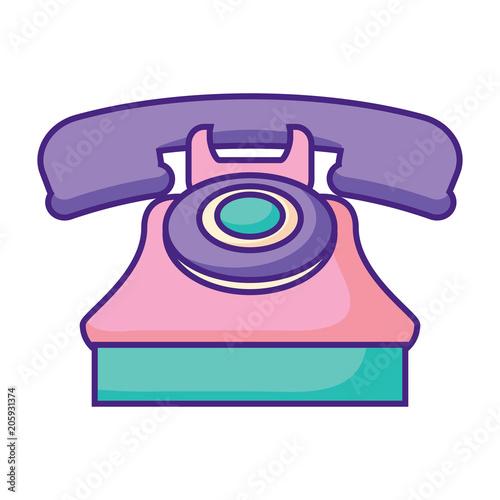 retro telephone icon over white background, vector illustration